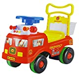 Dominiti Rutschauto / Rutscher mit Polizei und Feuerwehr Motiv | Flüsterreifen | Für drinnen und draußen geeignet (Feuerwehr rot)