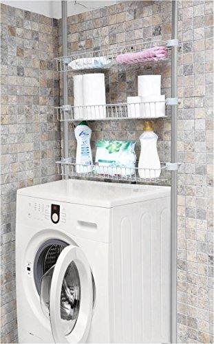 #Kreher Badregal, Waschmaschinen Überbauregal aus eloxiertem Aluminium mit DREI höhenverstellbaren Körben aus Metall, Maße 66 x 20 x 250 cm#