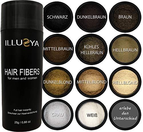 ILLUSYA® Streuhaare - Schütthaare - Haarpulver zur Haarverdichtung. Premiummarke. Volles Haar in Sekunden (SCHWARZ)