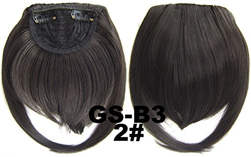 # 2 100% fibre synthétique haute température Clip dans/sur cheveux avant frange frange cheveux