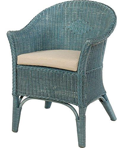 Rattan-Sessel Natur in der Farbe Blau Korb-Sessel inkl. Polster Beige, Rattanmöbel Rattansessel Rattanstuhl mit Armlehnen Lounge