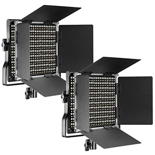 NEEWER 2 Packs dimmbar Bi-Color LED mit U-Halterung und professionelles Videolicht für Studio, langlebiger Metallrahmen, 660 LED Perlen, 3200-5600K, CRI 96 + (EU-Stecker)