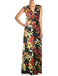 77ba5971680 Aofur Longue Col en V Robes sans Manches Femme Maxi Plume Impression Taille  Haute Mince Robe
