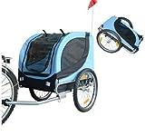 PawHut® Hundeanhänger Fahrradanhänger Hunde Fahrrad Anhänger Blau/Schwarz NEU