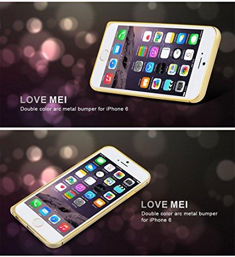 Love Mei Schutzhülle für iPhone 6(11,9cm) de Luxe aus Aluminiumlegierung Bumper Rahmen aus Metall Champagne+Pink