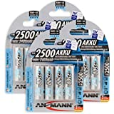 ANSMANN wiederaufladbar LSD Akku Batterie geringe Selbstentladung Mignon AA 2500mAh maxE NiMH vorgeladen sofort einsatzbereit hohe Kapazität ready to use 16er Pack