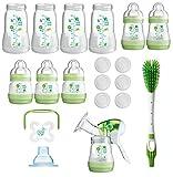MAM Set - Startset - Milchpumpe, Flaschenset, Flaschen, Sauger & Flaschenbürste - + gratis Schmusetuch Löwe Leo
