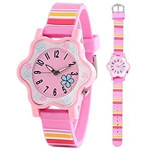 Clooker girl watch young teenagers children kids quartz watches rainbow chromatic stripe for Rainbow color stripe watch