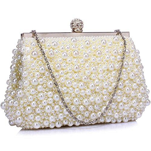 TrendStar Frau Kupplungs Taschen Damen Kristall Wulstige Abend Partei Hochzeit Handtaschen B - Elfenbein 1