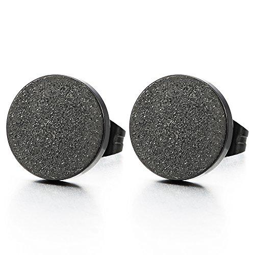 6-12MM Noir Satinéé Cercle Boucles d'oreilles Homme Femmes - Bouchon d'oreille - - Acier