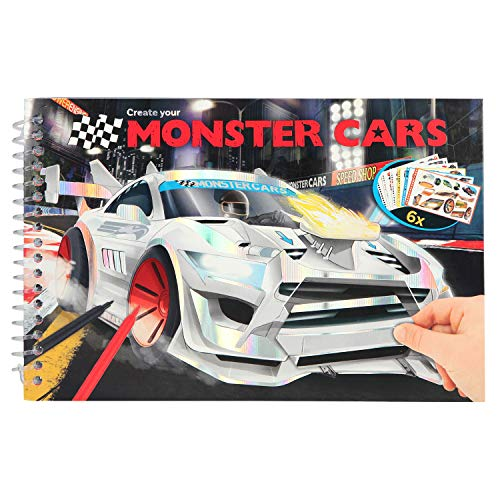 Depesche 10631 Malbuch mit Stickern, Create Your Monster Cars, bunt