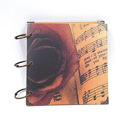 Fotoalbum Eisenring 8 Quadrat-Zoll-Aufkleber Album Album DIY Handarbeit retro romantischen kreative Album Love Rose + Music 18.5X18.5CM1PCS