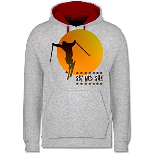 Après Ski - Ski and Sun - Skifahrer - Kontrast Hoodie Grau Meliert/Rot
