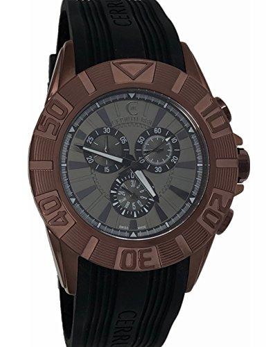 Cerruti 1881Crwa042m233q Homme montre chronographe Coque 44mm, bracelet en caoutchouc Noir, fabriqué en Suisse, Marron