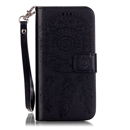 iPhone 6 Coque, iPhone 6S Coque, Lifeturt [ Violet Campanula ] Leather Case Wallet Flip Protective Cover Protector, Etui de Protection PU Cuir Portefeuille Coque Housse Case Cover Coquille Couverture  E02-Black Campanula