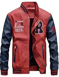 Vogstyle Hommes Vest Casuel Cuir PU Teddy Baseball Blouson avec Doublure  Jackets cd4591f4400