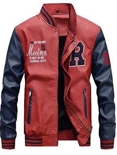 Vogstyle Herren Winterjacke Bomberjacke Fliegerjacke Freizeit Reißverschluss Jacken Mantel Red XS