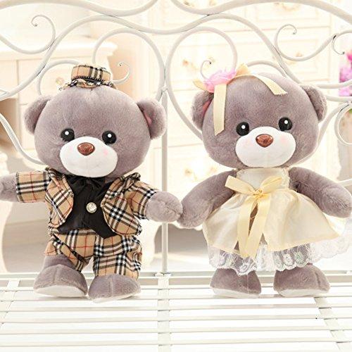 VERCART XXL 70cm Grau Teddybär Paar Hochzeit Teddybär Heirat kostümiert Hochzeit Party Geschenk Teddy (Riesen Bären Kostüme)
