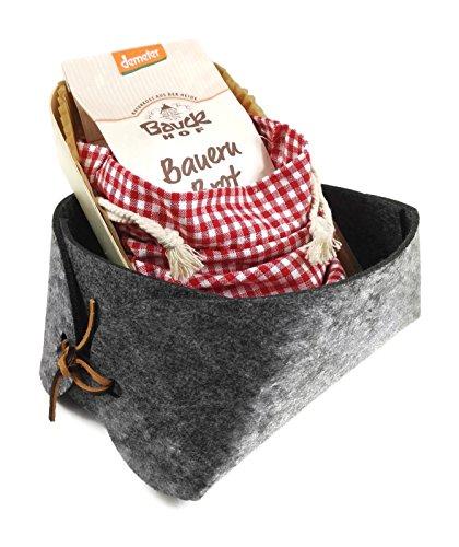 """Kleiner Geschenkkorb """"Brot backen"""" anthrazit - Einweihung, Einzug, Umzug, Nachbar, Nachbarschaft, Geschenk, Mitbringsel, Präsent, Biobrot, Brotkorb, Bio-Backmischung, Backform, grau, anthrazitfarben"""
