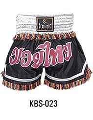 Kango - Pantalones Cortos de Muay Thai y Kickboxing, para artes marciales, entrenamiento y lucha, estilo UFC , White&Black(KBS-023)
