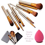 Cosmetic Makeup Brush Set Of 12 In Strong Storage Box With Blender
