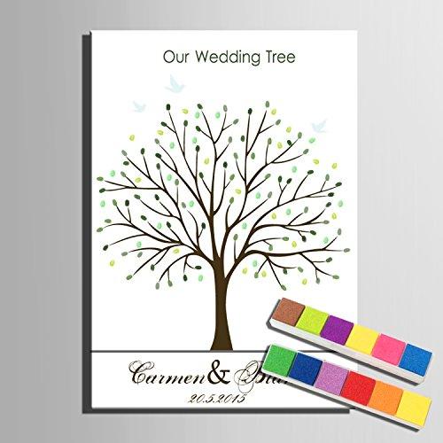 Lienzo de huellas dactilares firma árbol de boda regalo de bodas Decoración de la boda fiesta regalo boda nombre (incluye 12colores de tinta), 59x80cm