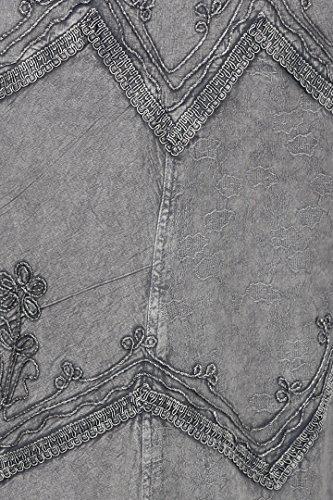 Sakkas Stonewashed Rayon brodée bretelles réglables Robe longue Gris