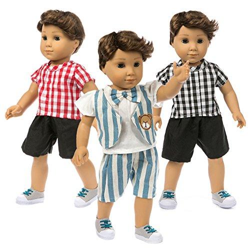 uppenkleidung Kariert Hemd Bluse Hosen für 43 cm 45-46cm Babypuppe Doll Puppe Kleidung Set Bekleidung für 18 Zoll American Girl / Junge T-Shirt Kleidung ()