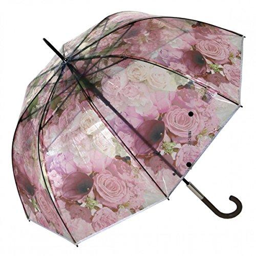 Regenschirm Transparent Durchsichtig Glockenschirm Automatik Blumen