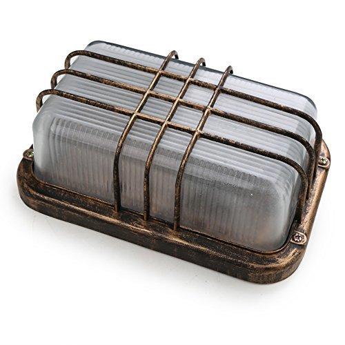 Fuloon Lampada da parte, originale, dallo stile Retro industriale. Luce con grata in ferro, perfetta per il Corridoio, Bar, sottoscala ecc