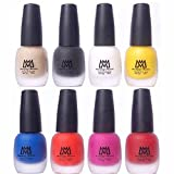 #9: Makeup Mania Premium Nail Polish - Combo of 8 Velvet Matte Nail Paint - Nude, Black, White, Yellow, Blue, Orange, Maroon, Pink - 12 ml each bottle (MM# 18-22)