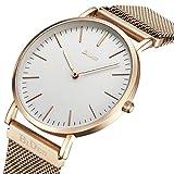 Uhr, Mens Frauen Uhr Luxus Mode Super Thin Case Wasserdicht Analog Quarz Magnetische Apple Watch Band Armbanduhr (RoseGold)