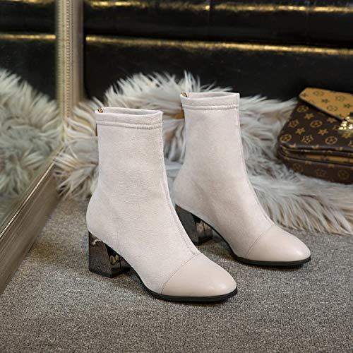 Shukun Bottes Chaussures Femme Talon Haut Bottines Femme Épaisse avec Chaussettes Bottes Élastiques Personnalité Féminine Tête Carrée Bottes Bottes Martin Bottes