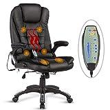 UEnjoy Fauteuil Chaise de Bureau chaise de massage electrique noir PU...