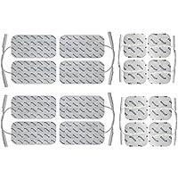 Axion - 16 electrodos conexión de clavija - Conexión clavija 2mm - 8*50x50mm + 8*100x50mm) - Almohadillas para electroestimuladores TENS EMS - Calidad axion