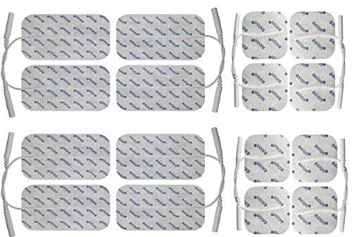 16 x Elektroden Pads, 8 * 10x5cm + 8 * 5x5cm. Selbstklebend, für TENS Gerät Reizstromgerät mit 2mm-Anschluss