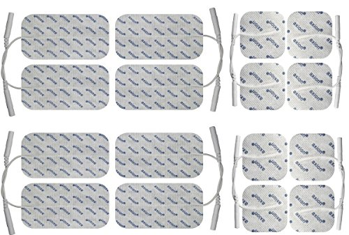 ems elektroden 16 x Elektroden Pads, 8 * 10x5cm + 8 * 5x5cm. Selbstklebend, für TENS Gerät Reizstromgerät mit 2mm-Anschluss