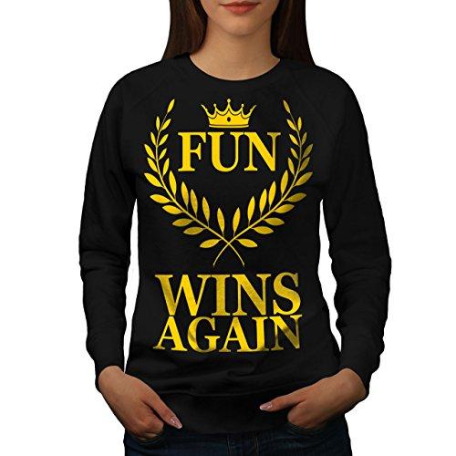 Spaß Gewinnt Nochmal Scherz Komisch Frau 2XL Sweatshirt | Wellcoda (Sweatshirt Erwachsene Gewinnt)