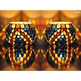 Round Shape Wedding Table Decorations Glass Candle Holders 3 Inch Set Of 2 Pcs