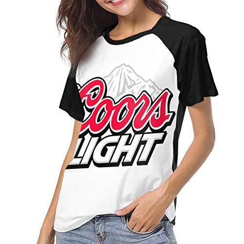 Kmehsv Damen Kurzarm T-Shirts mit Rundhalsausschnitt, Coors Light Woman Women\'s Baseball Short Sleeves Soft Short Sleeve Soft Tee
