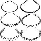 Voarge 6 stuks metalen haarband zwart Spring Wave haarband multi-stijl Unisex flexibele hoofdband accessoires zwart voor mann