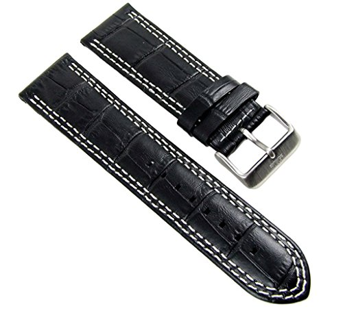 Ersatzband Uhrenarmband Leder Band 24mm schwarz in Kroko-Optik s.Oliver SO-2201-LQ