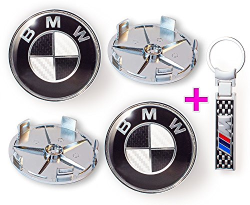 Preisvergleich Produktbild Set von 4 x BMW Logo 68 mm Nabendeckel in Faser-Rad-Carbon schwarz (36136783536) + BMW / / / M power logo Schlüsselanhänger von Carbon schwarz