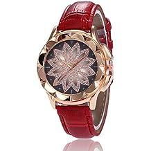 Godagoda Femme Montre Bracelet Quartz Analog Sangle PU Cuir Cadran Verre  Original Fleur Décoration Cadeau 10b2fd93079