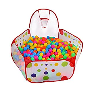 AAJ Kids Ball Pit, Indoor & Outdoor Play Tent Playpen Ball Pit Pool with Basketball Hoop Zippered Storage Bag (Balls not Included) (Red)