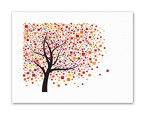 Digital Photo Cube (DIGITAL GRAPHIC TREE CUBE LEAVES COLOURFUL Painting Canvas art Prints)