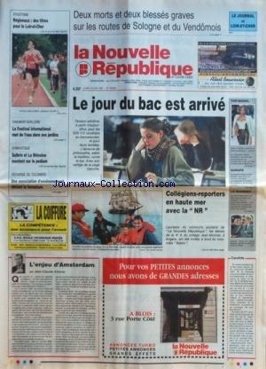 NOUVELLE REPUBLIQUE (LA) [No 16008] du 16/06/1997 - L'ENJEU D'AMSTERDAM PAR ARBONA - COLLEGIENS-REPORTERS EN HAUTE MER - UNE ASSOCIATION D'ENVIRONNEMENT OBTIENT LA FERMETURE DE LA DECHARGE DU COLOMBIER - LES SPORTS / GYMNASTIQUE - ATHLETISME par Collectif