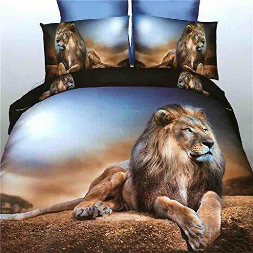 GHFDSJHSD Bettbezug-Set mit 3D-Effekt Bettwäsche Vierteiliges Set Tier Panda Pferd Tiger Löwe Druckeffekt Mit Bettbezug Blätter 2 Kissenbezug Einzel-Doppelbett, B -