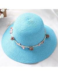 Haihuayan Sombrero De Paja Sombrero De Verano Para Mujer Sombrero De Paja  Para La Playa Shell 8aae29a03fb91