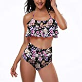 bobo4818 Frauen Retro Volant Hoch Taillierte Bikini Neckholder Badeanzug MäDchen Badebekleidungsset Bikini (Damen, M)